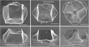 Deformation symmetries of single crystal Microparticles upon high-velocity impacts